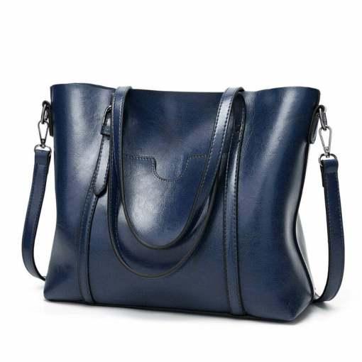 Women Genuine Leather Top Handle Satchel Tote Shoulder Bag Large Capacity Blue