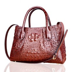 Real Crocodile Skin Leather Women Handbag Alligator Shoulder Bag Brown