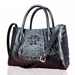 Real Crocodile Skin Leather Women Handbag Alligator Shoulder Bag Black