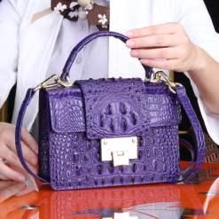 Genuine Crocodile Skin Leather Women's Handbag Alligator Satchel Bag Purple