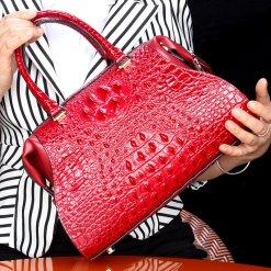 Natural Alligator Skin Women's Handbag Croc Shoulder Bag Red