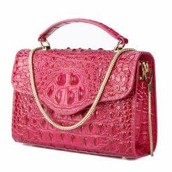 Croc-Embossed Chain Shoulder Bag Alligator Handbag Bag Rose Red