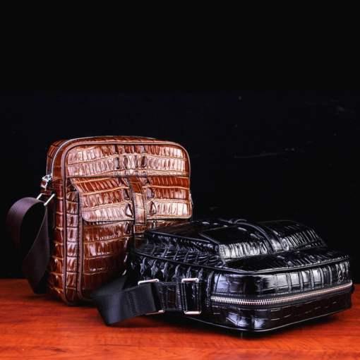 Real Thai Crocodile Skin Leather Mens Handbag Cross-Body Shoulder Bag