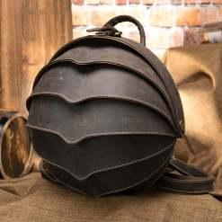 Retro Leather Beetle Backpack Crazy Horse Cowhide Men Vintage Bag