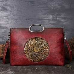 Genuine Leather Embossing Totem Handbag Classic Shoulder Bag Red