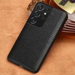 Genuine Leather Lizard Skin Pattern Case for Samsung Galaxy S21 Ultra S20