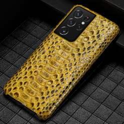 Natural Python Snake Skin Samsung Galaxy S21 Ultra S21 + Case