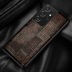Genuine Leather Crocodile Ostrich Pattern Splicing Case for Samsung Galaxy S21 Ultra Note 20