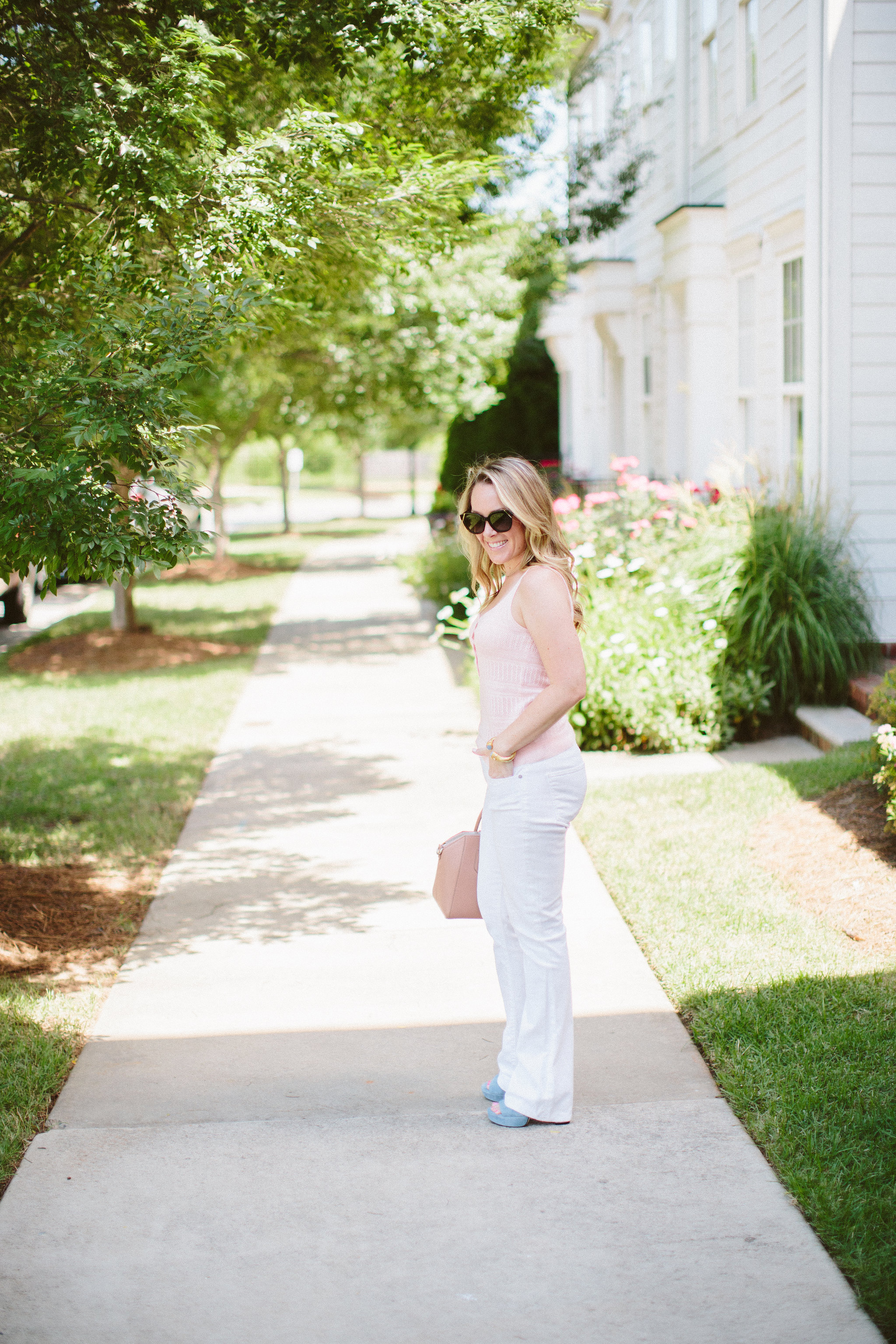Easy summer look on ECW wearing my favorite Rebecca Taylor La Vie Pointelle Tank.