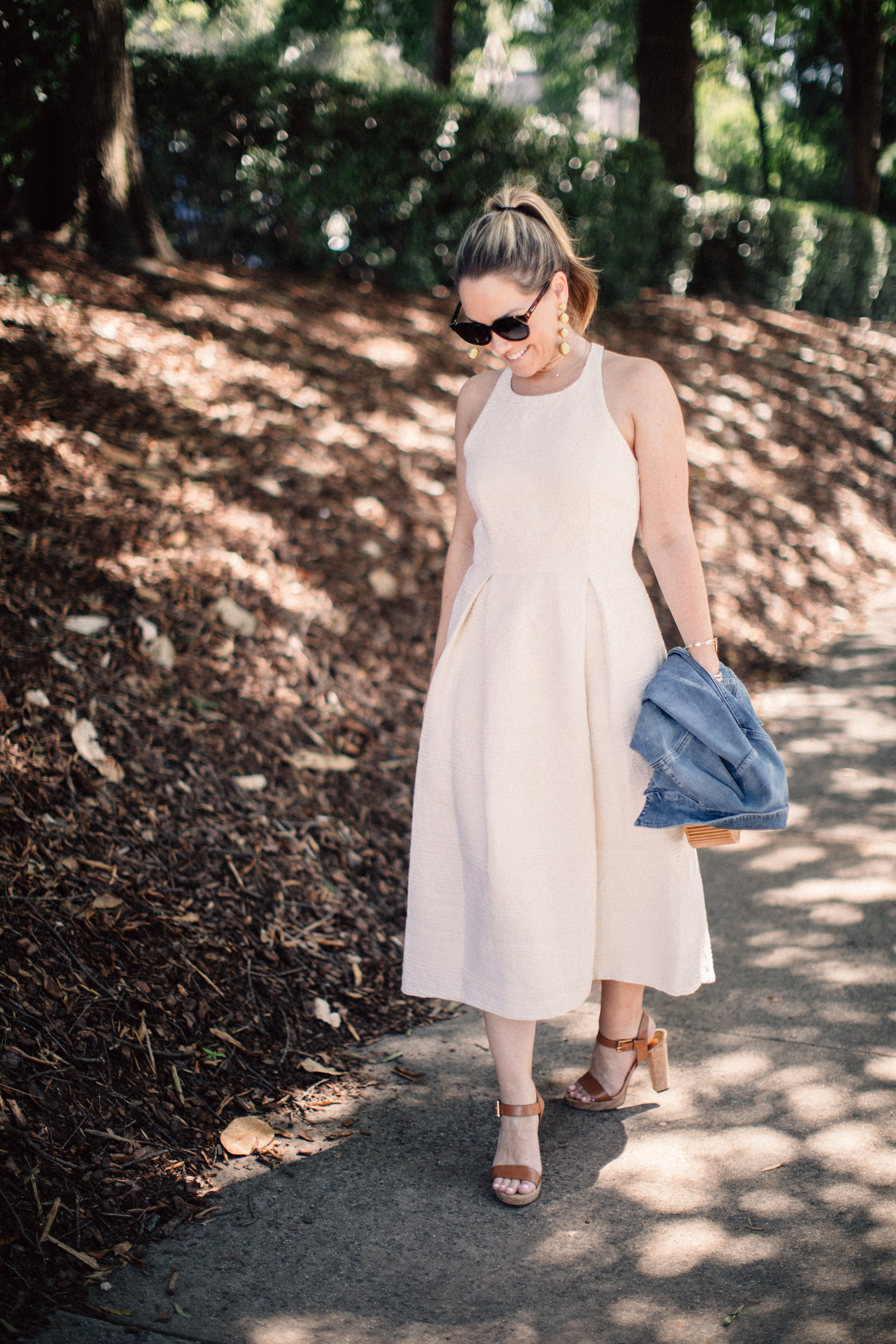 Paper Crown Gobi dress on ECW today! Blue Denim Jacket: The Perfect Transition Piece by North Carolina blogger Every Chic Way