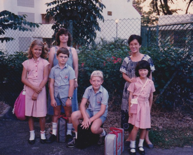 Waiting for the school bus in 1987