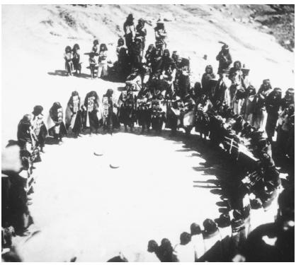 The Hopi women's dance is performed at coming-of-age celebrations.
