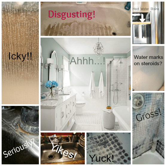 062915image5 collage2. How to Make Ugly Soap Scum  Mildew and Water Marks Disappear Like