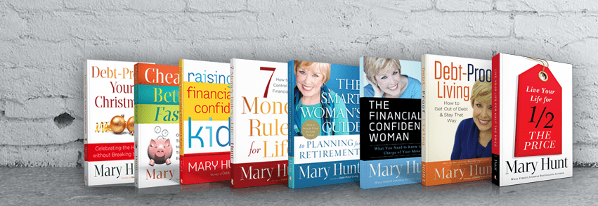 8 Books by Mary Hunt sitting on a shelf