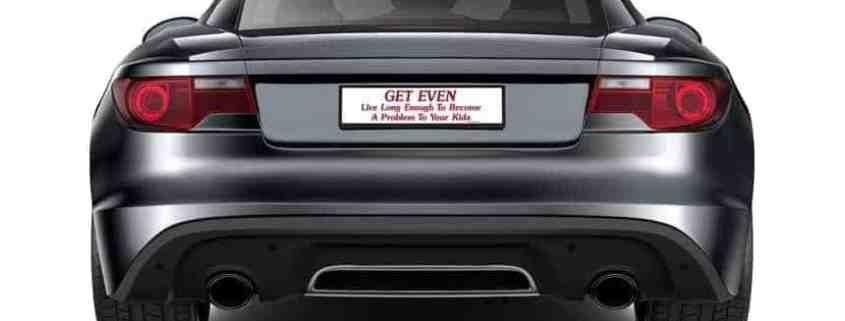 Black sports car with insolvent parents bumper sticker