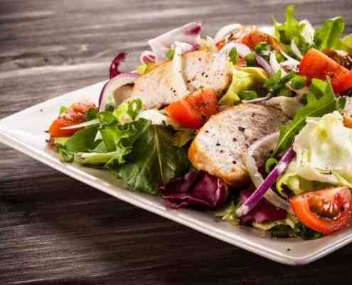 big main dish vegetable salad with grilled chicken
