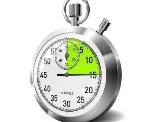 stopwatch set at 15 minutes