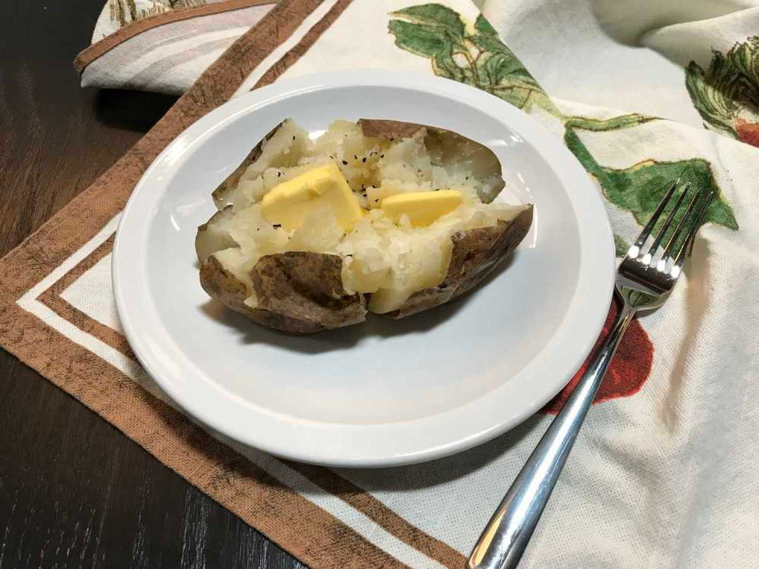 Russet Potato Perfectly Baked in Instant Pot, Ready to Eat with Butter, Salt and Pepper