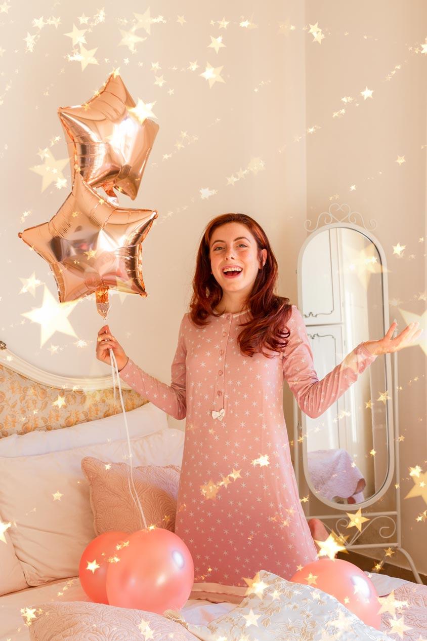 pepita camicia da notte con le stelle rosa