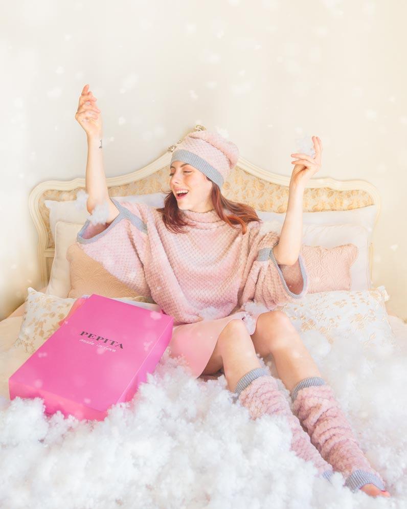 pepita poncho rosa in pelliccetta