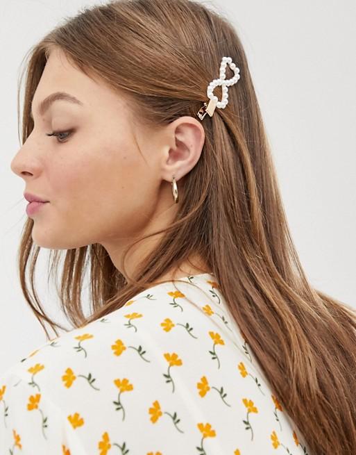 fermaglio per capelli a forma di fiocco con perle asos