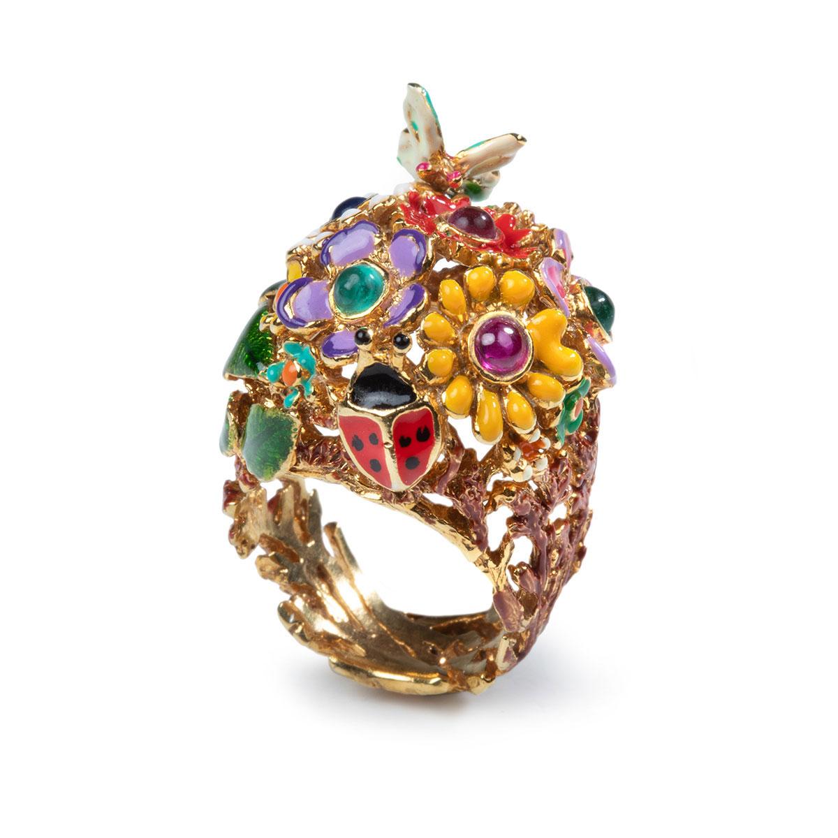 anello dorato-farfalla-giardino-segreto-gioielli a forma di animali