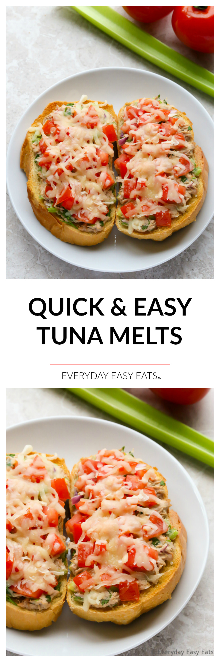 Quick Tuna Melts - 15 minutes are all you need to make these tasty, comforting sandwiches. | EverydayEasyEats.com