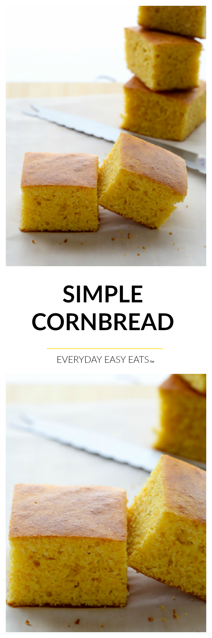 Simple Cornbread - A classic, lightly-sweet cornbread recipe that requires just 9 simple ingredients and 30 minutes to make. | EverydayEasyEats.com