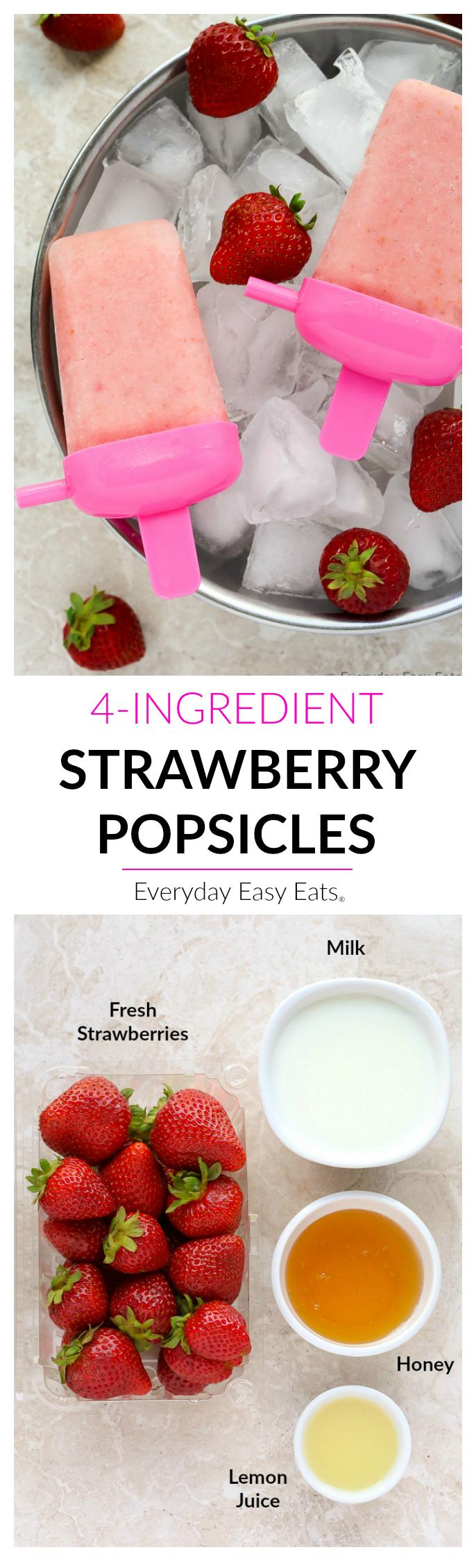 Healthy, 4-ingredient Strawberry Popsicles! | EverydayEasyEats.com
