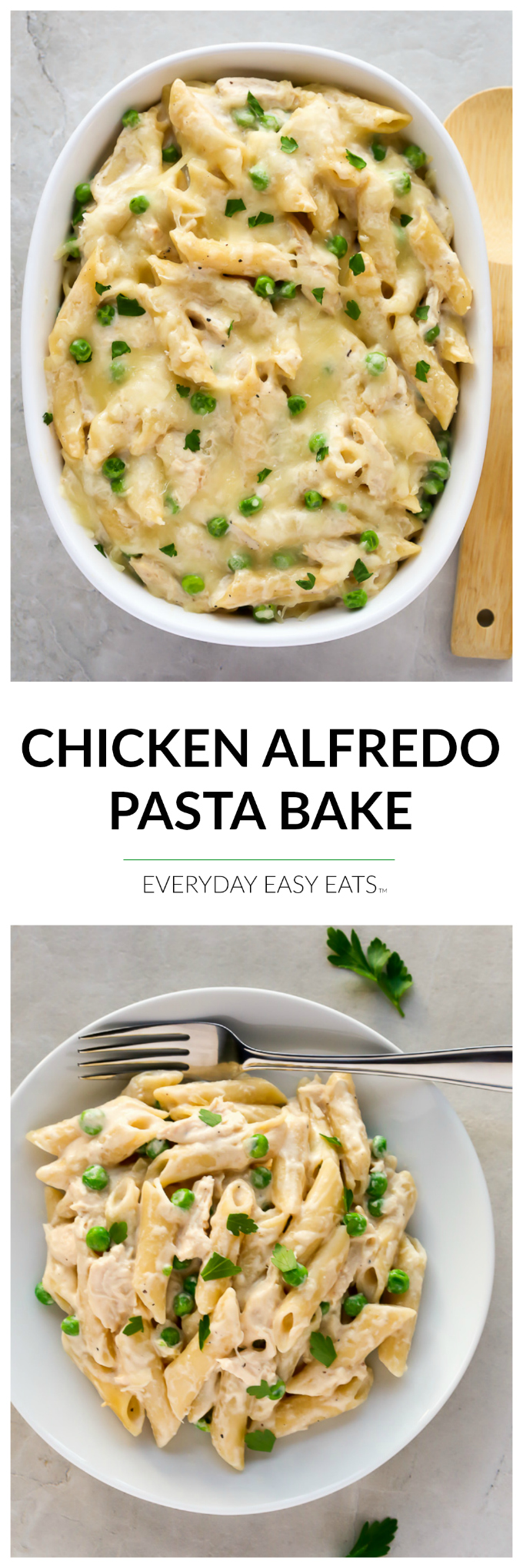 This Chicken Alfredo Pasta Bake recipe requires only 6 ingredients and is ready to eat in about a half an hour!   EverydayEasyEats.com
