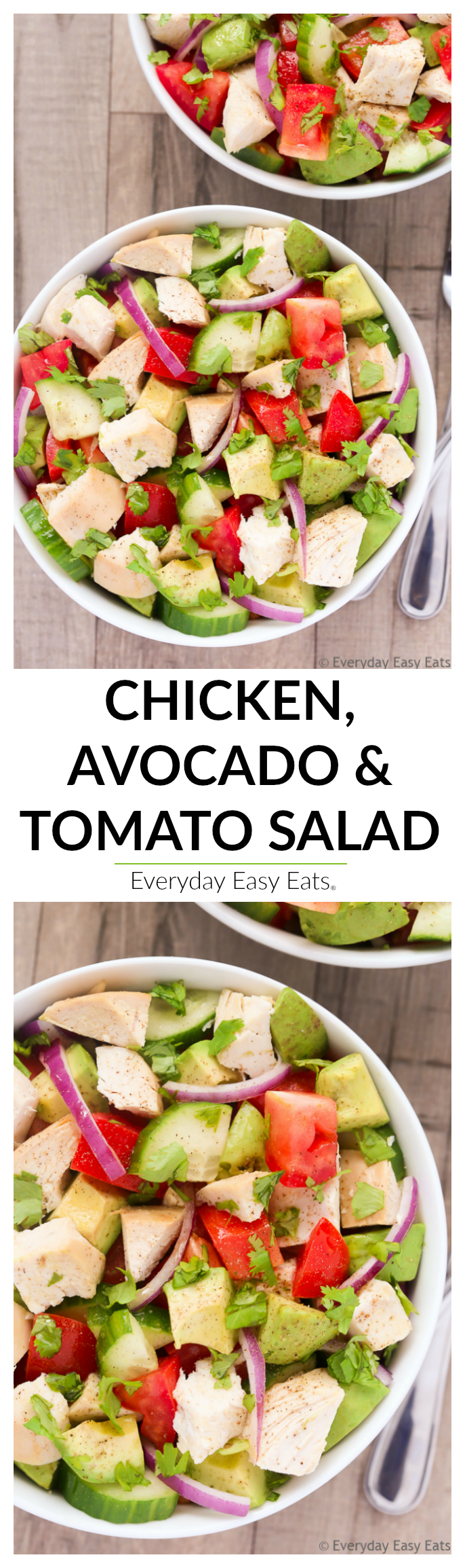 Chicken, Avocado and Tomato Salad - Healthy, easy-to-make and ready in 15 minutes! | Recipe at EverydayEasyEats.com