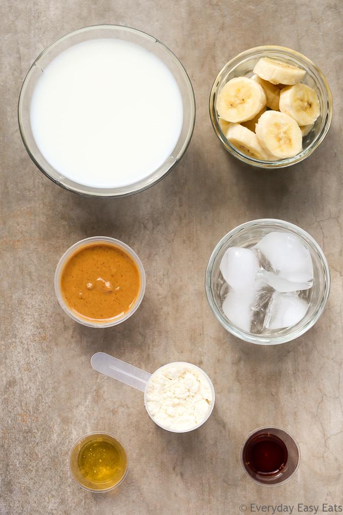 Peanut Butter Banana Protein Shake Recipe | EverydayEasyEats.com