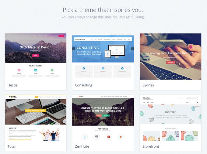 Pick Free WordPress Theme on Bluehost