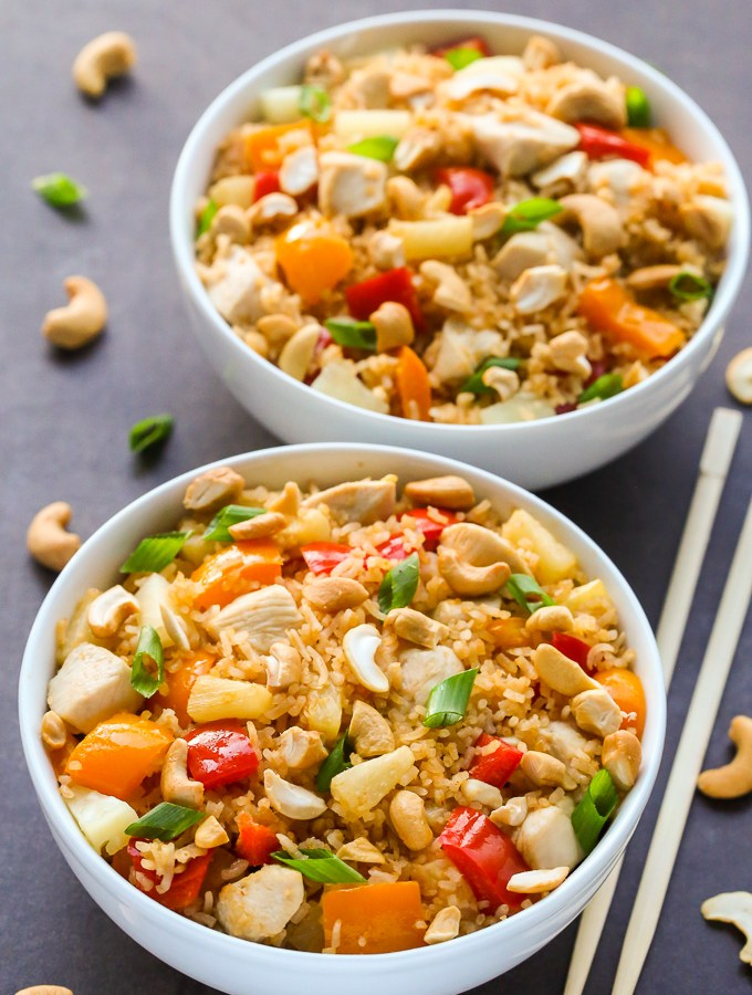 Easy Pineapple Coconut Chicken Fried Rice   Recipe at EverydayEasyEats.com