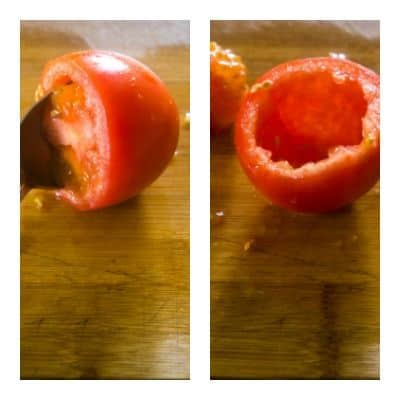 A collage of tomatoes showing how to scoop the seeds from the inside of the tomato and what the tomato looks like once the seeds are removed