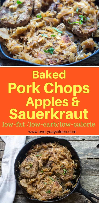 Baked pork chops, apples and sauerkraut