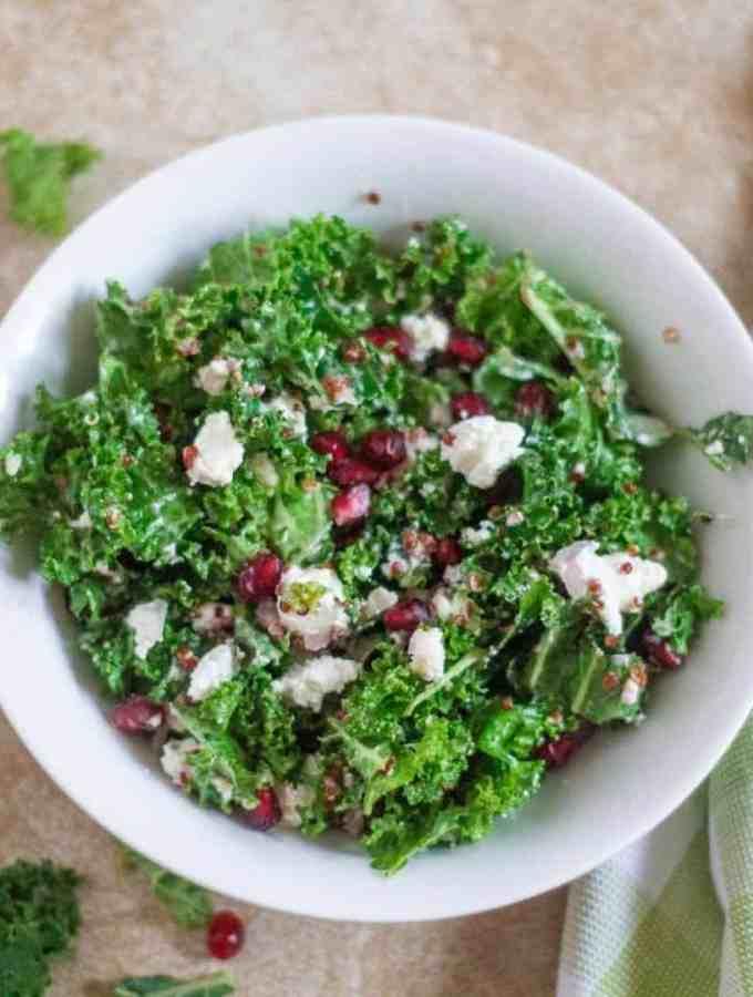 Kale and Quinoa Salad with Pomegranates