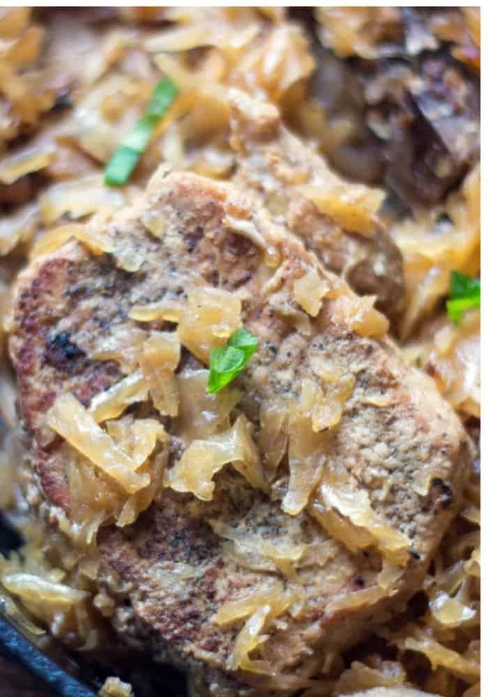 pork chops, apples and sauerkraut