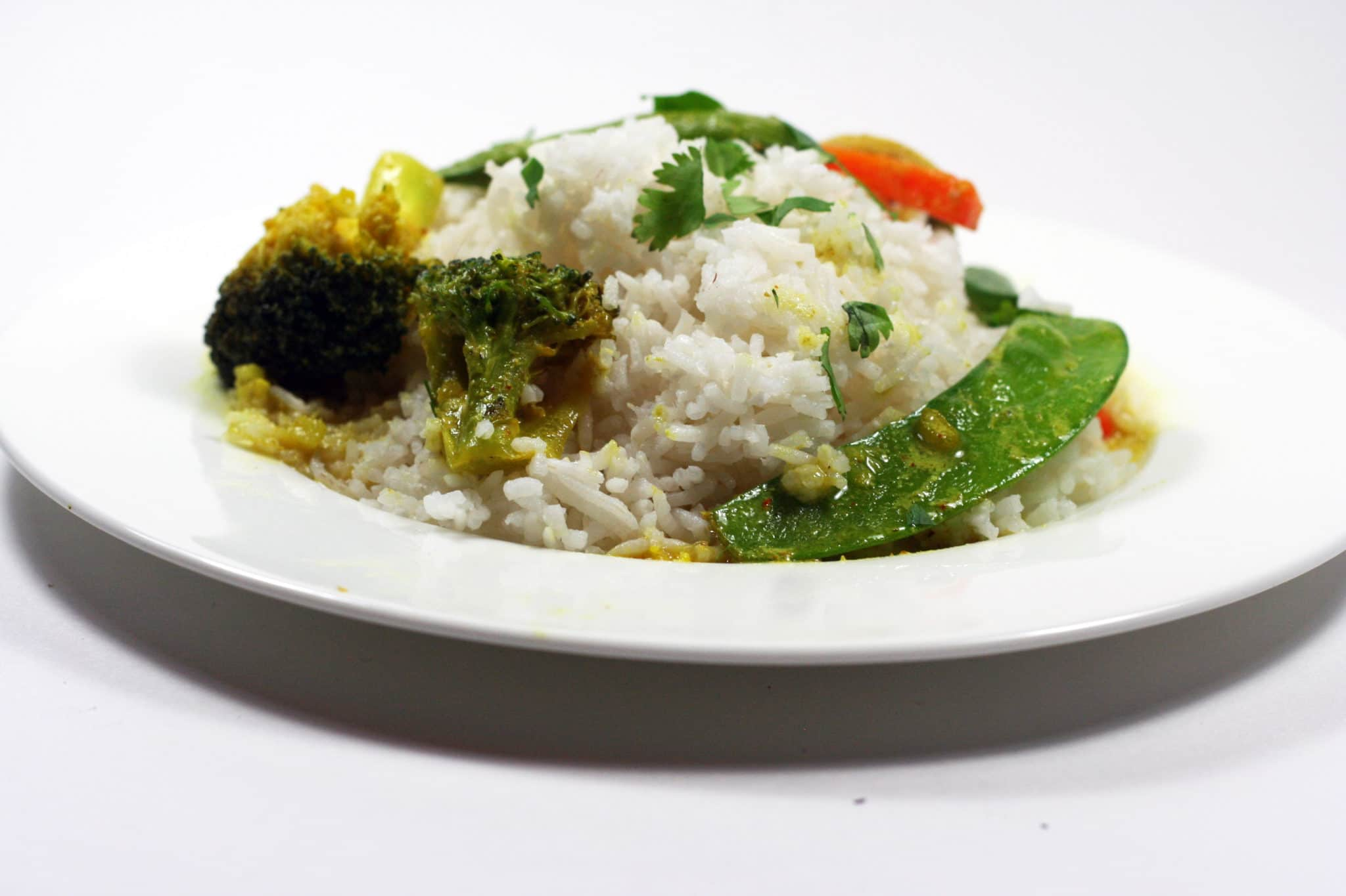 Coconut curry vegetables and rice