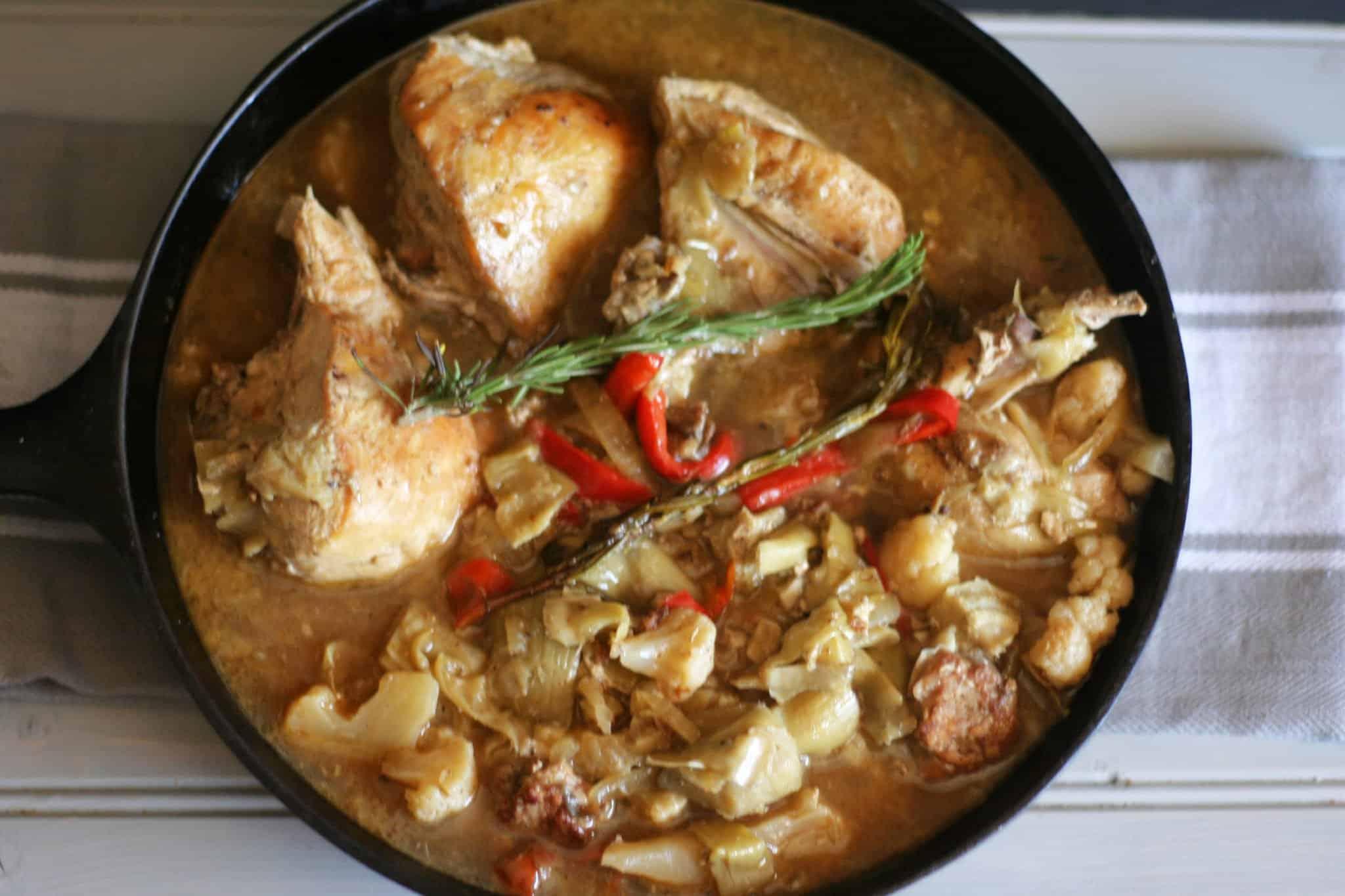 chicken scarpariello with cauliflower and artichokes