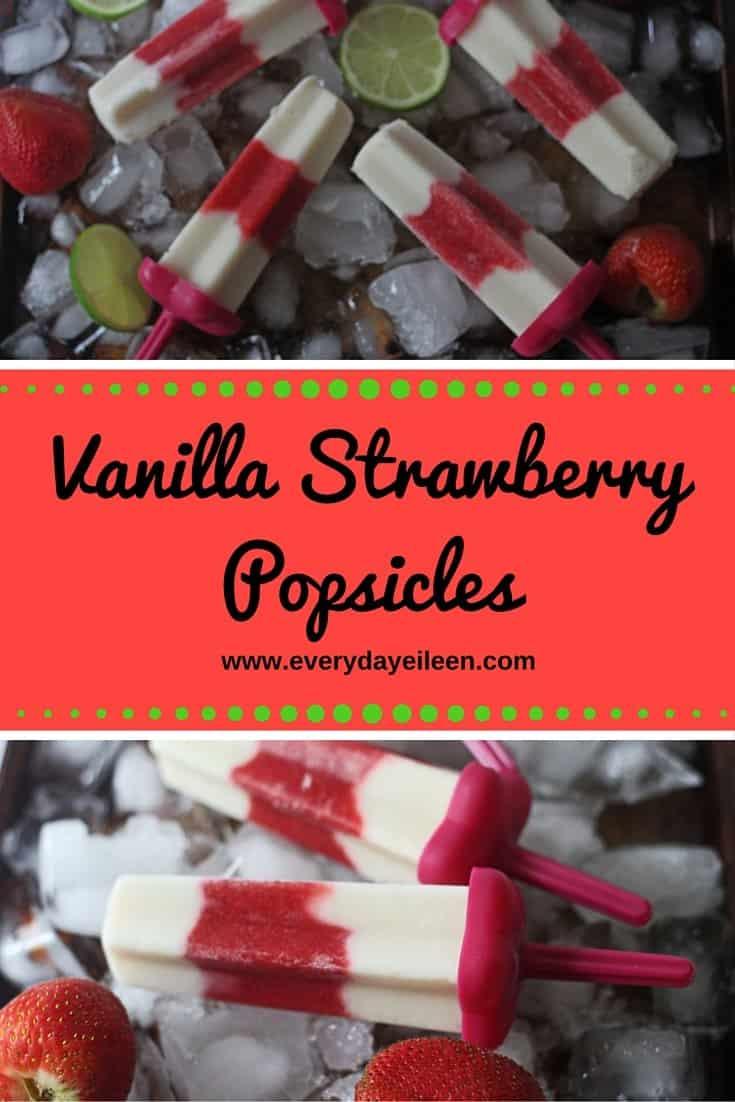 vanilla strawberry popsicles