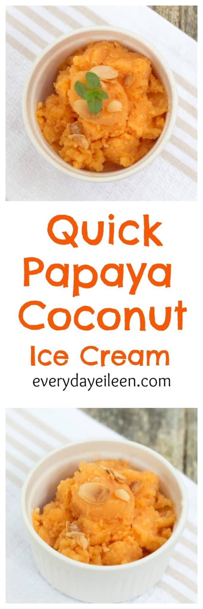 quick papaya coconut ice cream