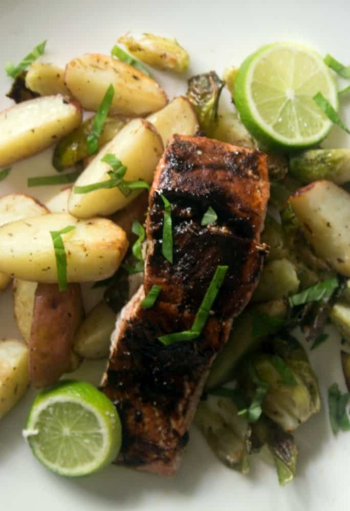 sheet pan balsamic glazed salmon, potatoes, and Brussels sprouts