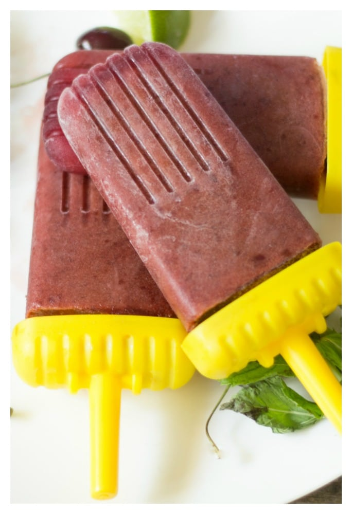 healthy sugar free cherry lime popsicles
