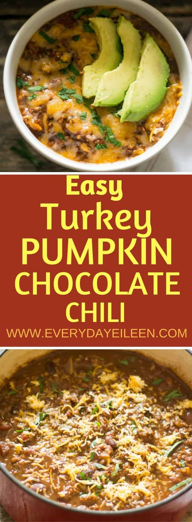Easy TURKEY PUMPKIN CHOCOLATE CHILI