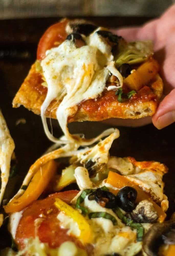 Mediterranean veggie flatbread pizza