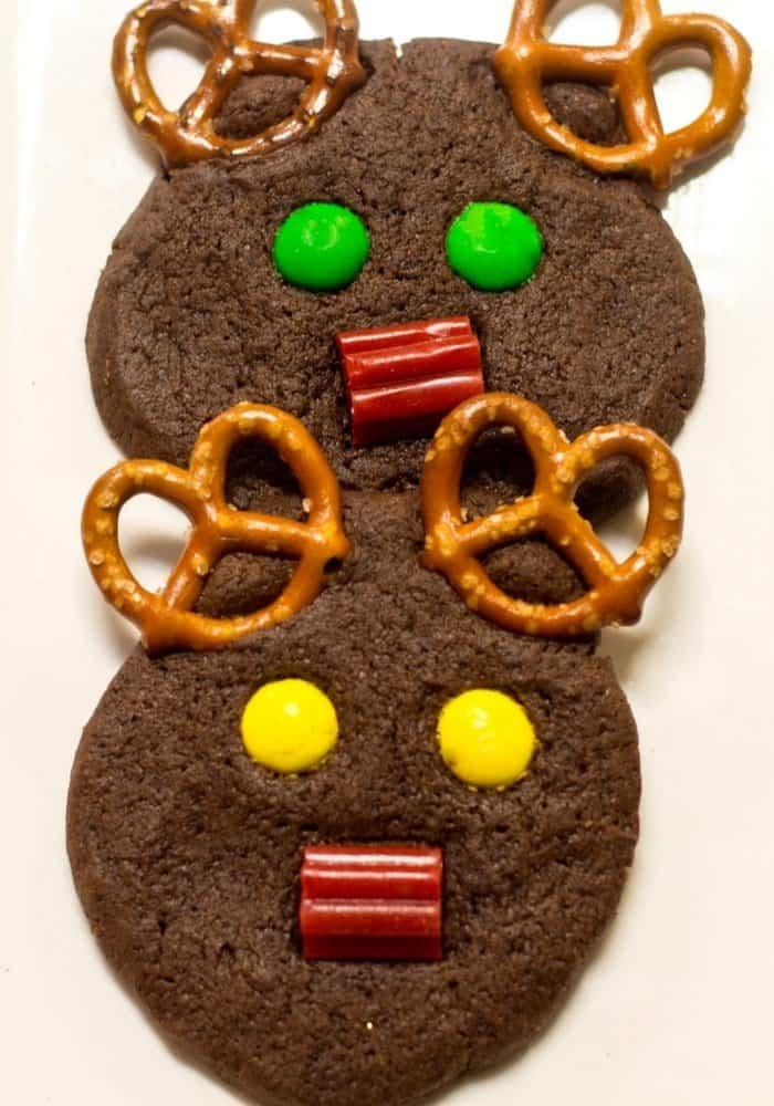 Holiday chocolate reindeer cookies