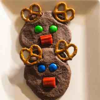 Holiday chocolate rudolph cookies