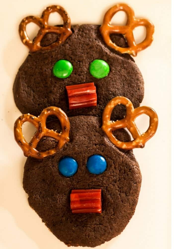 holiday chocolate rudolph cookie