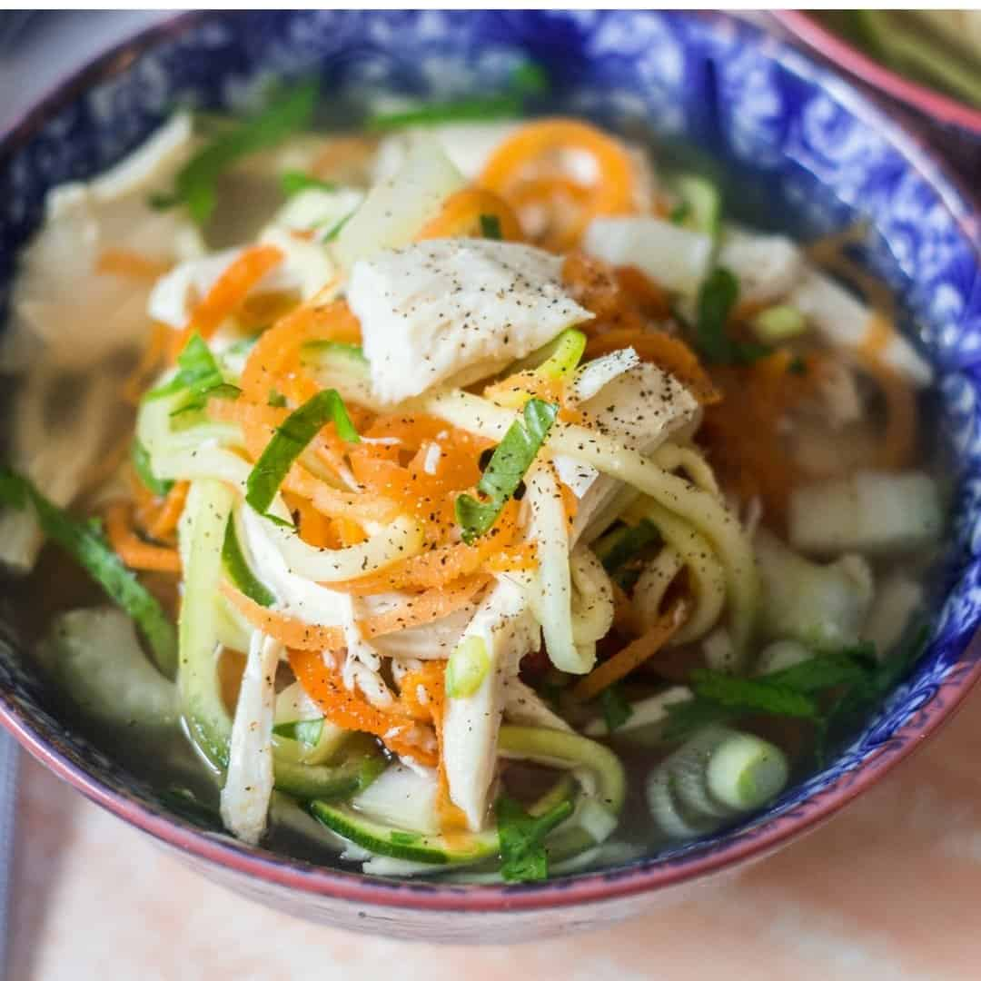 healthy detox chicken zoodle soup